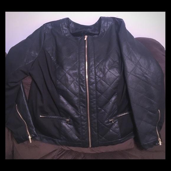 9b58287d2df79 Lane Bryant Jackets   Blazers - Lane Bryant Women s Jacket Black Faux  Leather Mix